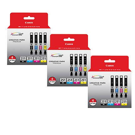 Canon CLI-251 BK/CMY 4 PK Value Pack Ink for Canon InkJet Printers-3 PK