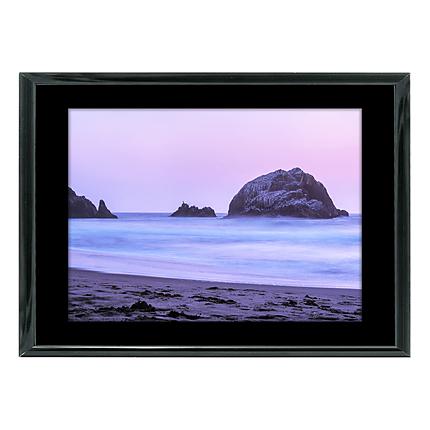 10x8 Custom Black Metal Frame, Black Mat with Glass
