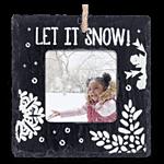 Slate Square Ornament Let It Snow