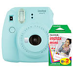 Fujifilm Instax Mini 9 Ice Blue Camera with Mini Film Twin Pack
