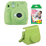 Fujifilm Instax Mini 9 Lime Green Camera with Film  and  Groovy Case