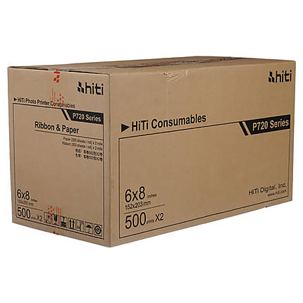 HiTi 6x8 Media for P720L Printer (500 sheets/roll, 2 rolls/carton)
