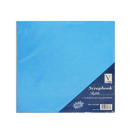 Scrapbook Color Paper for Refill Pages (10 12x12 pages) - Blue, Green, Pink