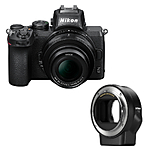 Nikon Z50 Mirrorless Digital Camera with 16-50mm Lens  and  FTZ Adapter