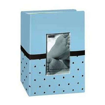 Pioneer 4 x 6 In. Baby Embroidered Frame Fabric Photo Album (100 Pages)-Blue