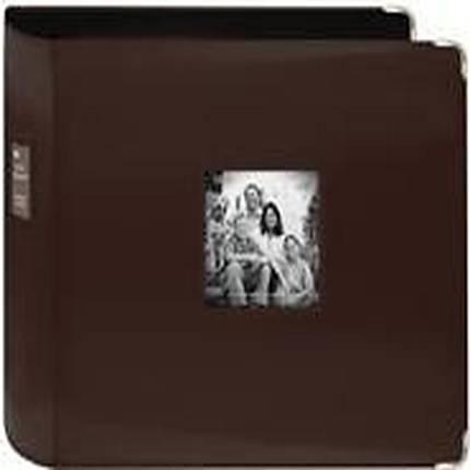 Pioneer 12 x 12 In. Sewn Leatherette 3-Ring Binder Frame Scrapbook - Brown