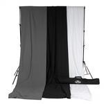 Savage Accent Muslin Background Kit 10x24 - White/Black/Gray